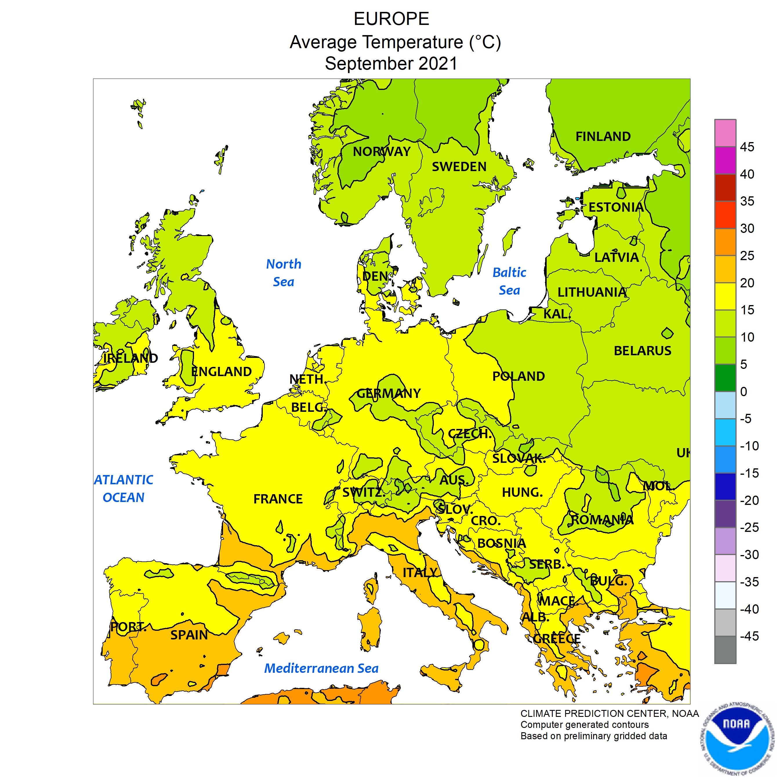 Media delle temperature in europa ultimo mese
