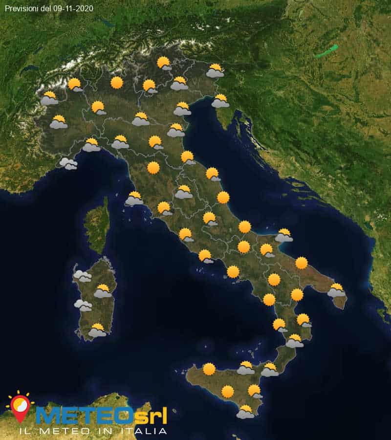 Previsioni Meteo Italia 09/11/2020