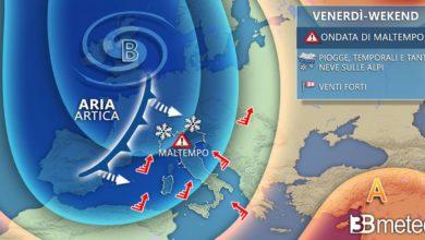 Photo of Meteo, maltempo invernale anche nel weekend del 5 e 6 dicembre.