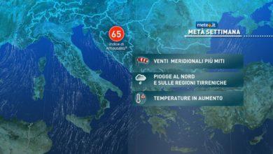 Photo of Meteo, aumento termico e piogge