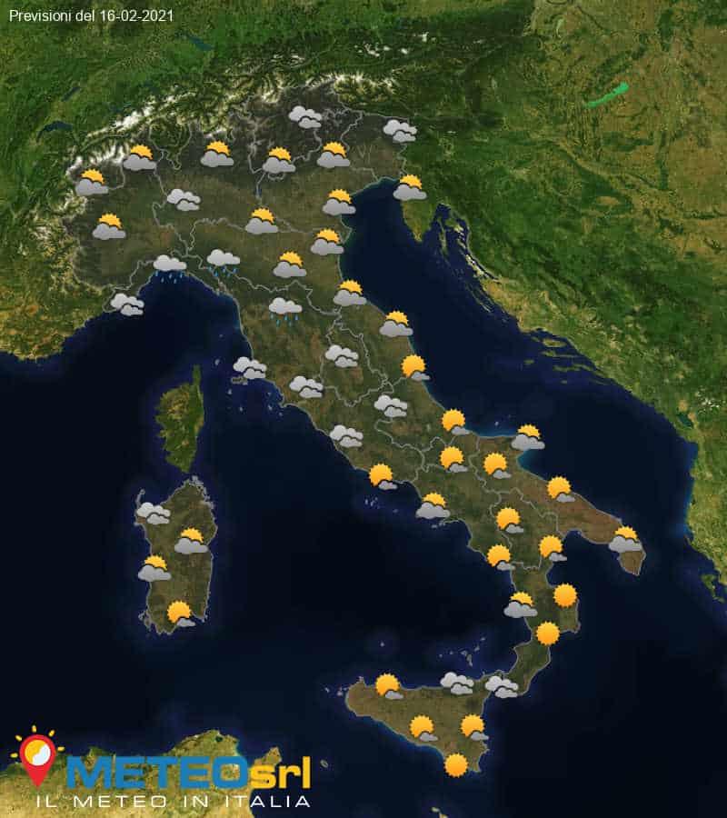 Previsioni Meteo Italia 16/02/2021