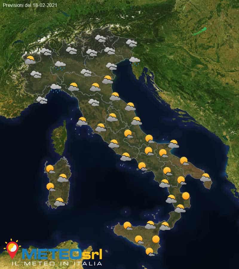 Previsioni Meteo Italia 18/02/2021