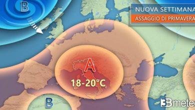 Photo of Previsioni meteo: nuova settimana, ANTICICLONE e tentativi di PRIMAVERA. Si raggiungeranno anche i 20°C