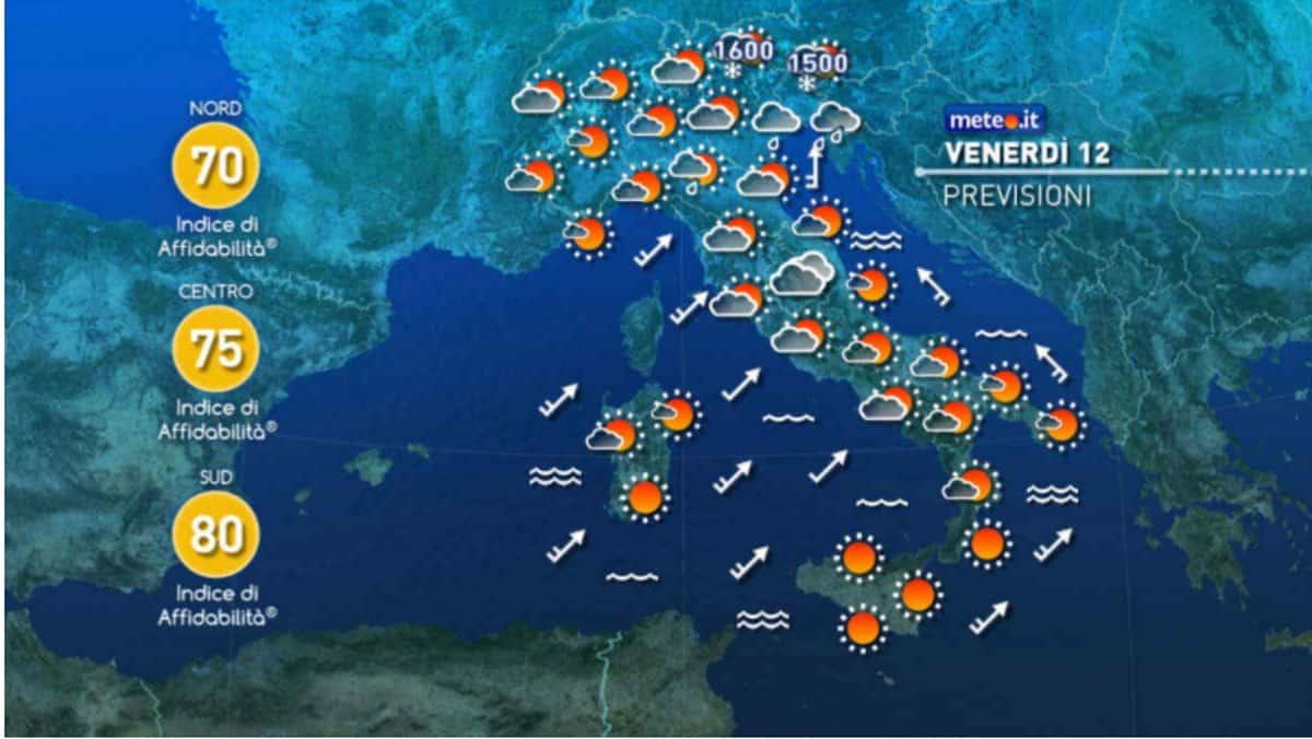 Previsioni meteo aggiornate in Italia per oggi e domani