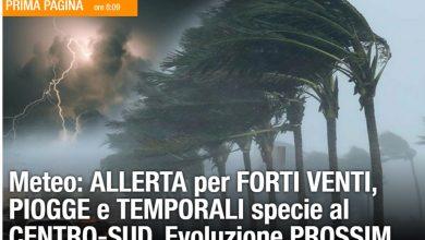 Photo of Meteo, domenica di MALTEMPO – ALLERTA PROT. CIVILE