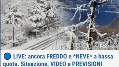 """Photo of 3B METEO """"CRONACA METEO. Prosegue il freddo intenso con NEVE a bassa quota. Situazione e previsioni – VIDEO"""""""