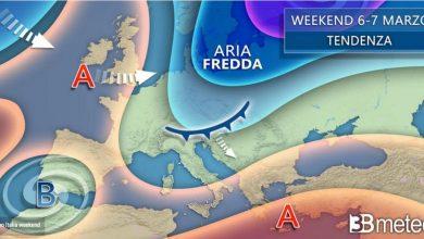 Photo of Previsioni del tempo nel fine settimana: spazio alle correnti FREDDE