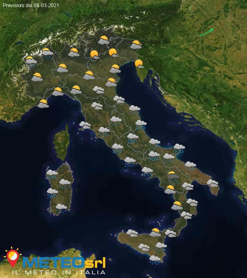 Previsioni Meteo Italia 08/03/2021