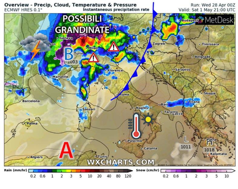 Previsioni meteo 1 maggio