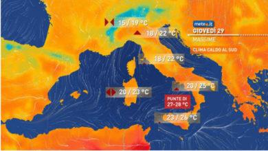 Photo of Meteo: oggi 29 Aprile piogge al centro-nord, caldo estivo al SUD