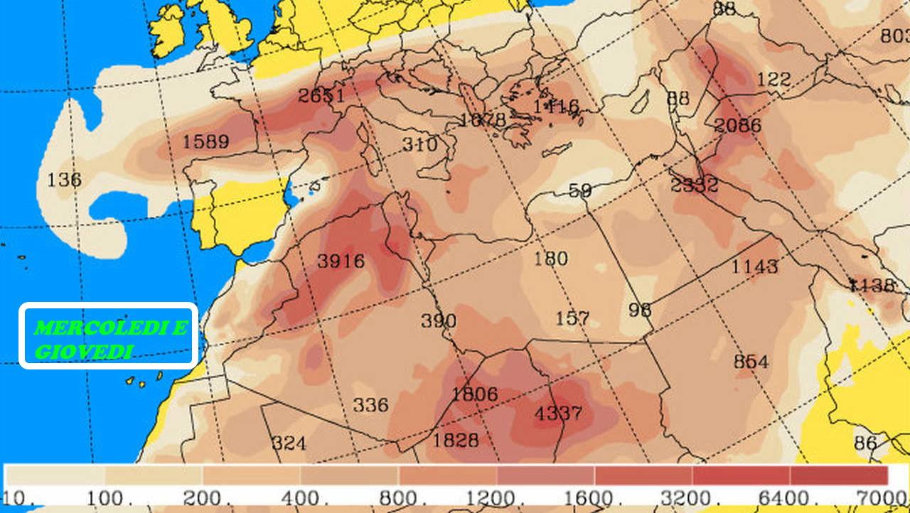 Il meteo sabbia in Europa
