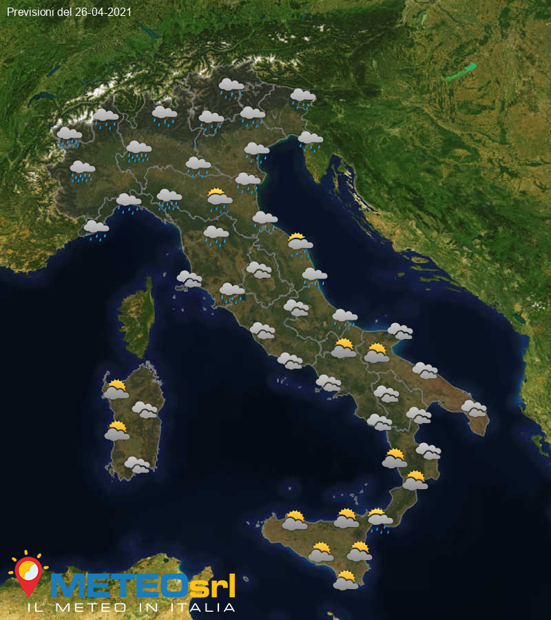 Previsioni Meteo Italia 26/04/2021