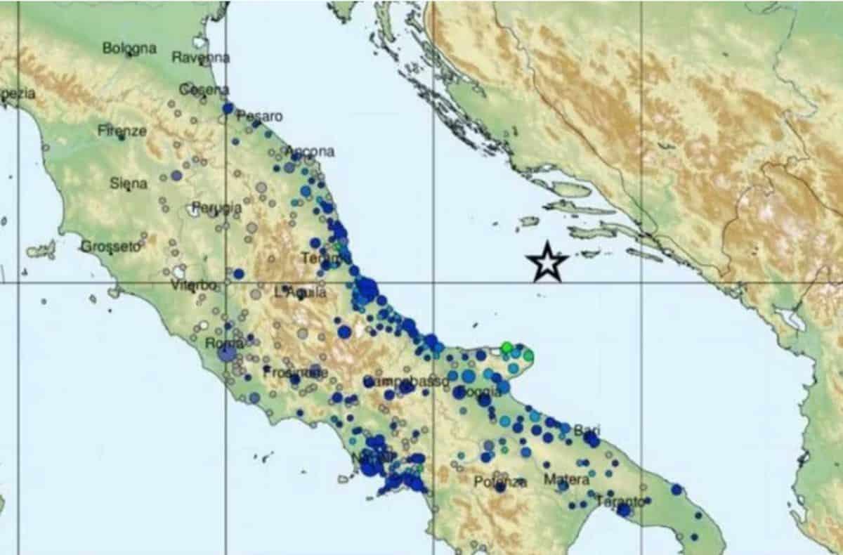 Scosse di terremoto in adriatico