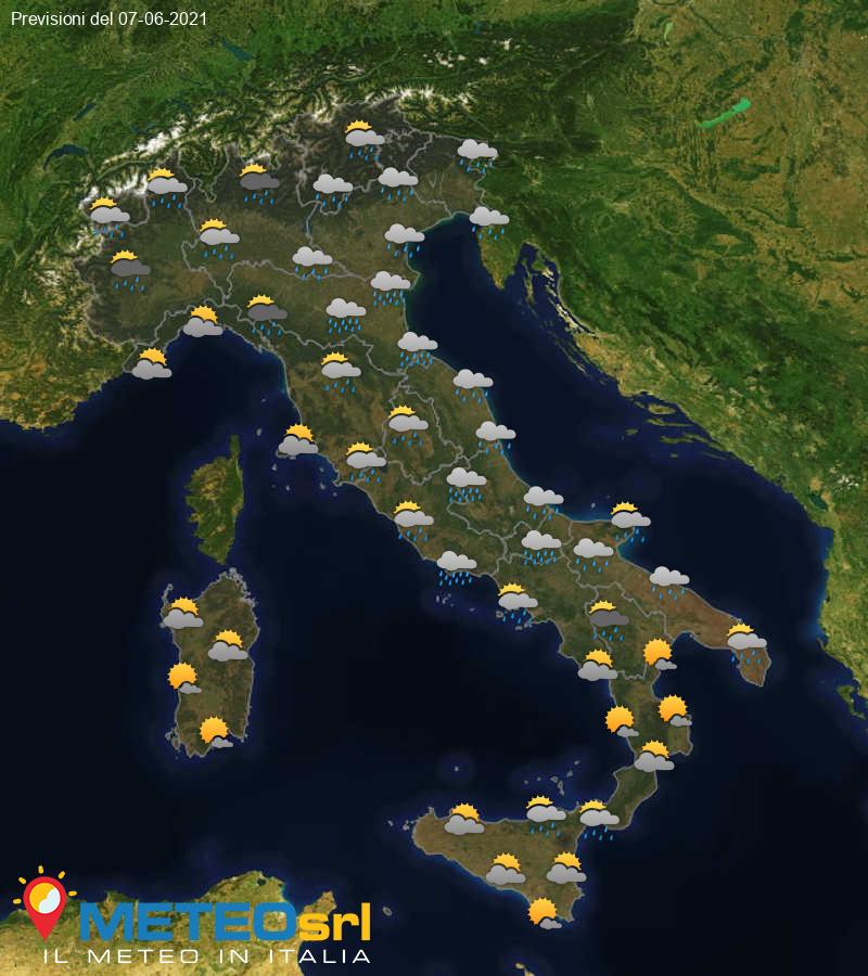 Previsioni Meteo Italia 07/06/2021
