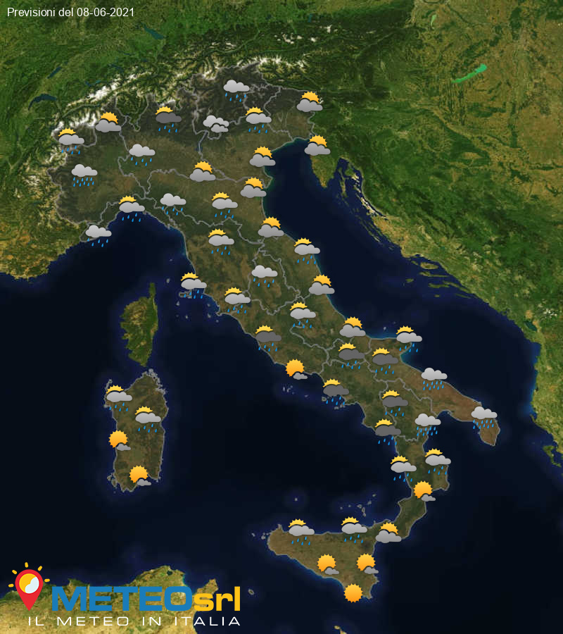 Previsioni Meteo Italia 08/06/2021