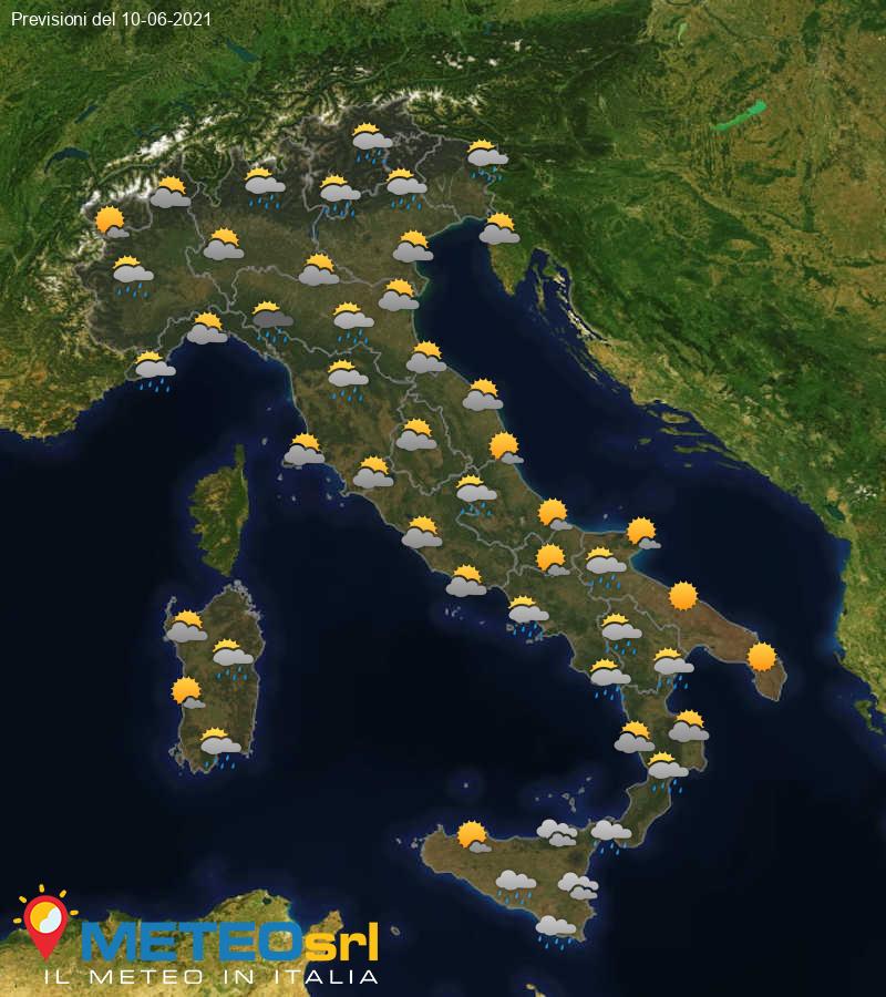 Previsioni Meteo Italia 10/06/2021