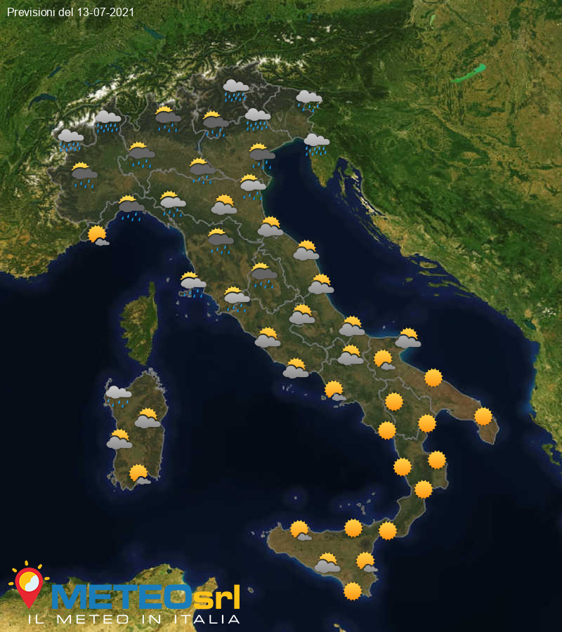 Previsioni Meteo Italia 13/07/2021