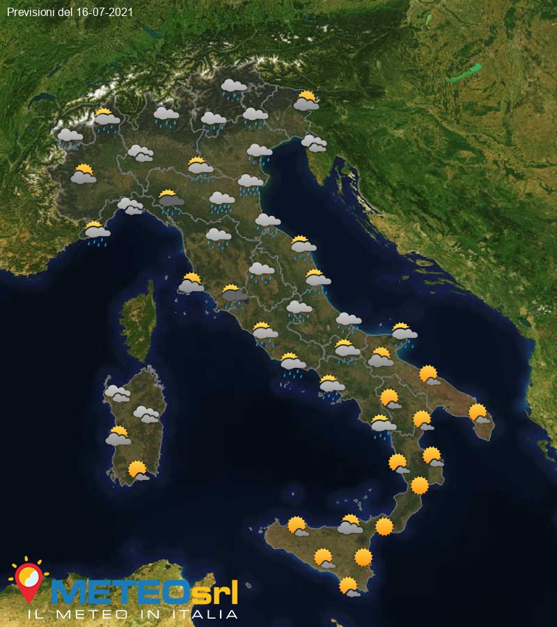 Previsioni Meteo Italia 16/07/2021