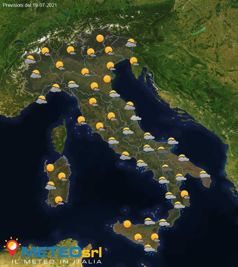 Previsioni Meteo Italia 19/07/2021