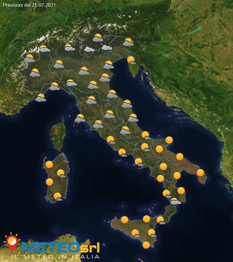 Previsioni Meteo Italia 21/07/2021