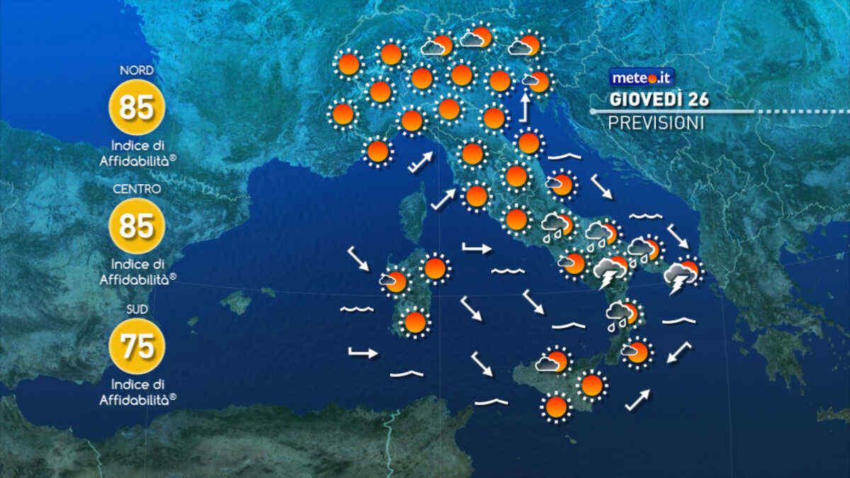 Previsioni meteo di oggi e domani in Italia