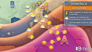 Photo of 3B meteo: domenica tra TEMPORALI e valori fino a 45°