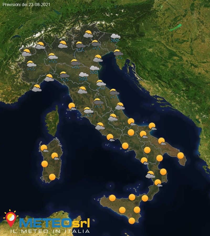 Previsioni Meteo Italia 23/08/2021