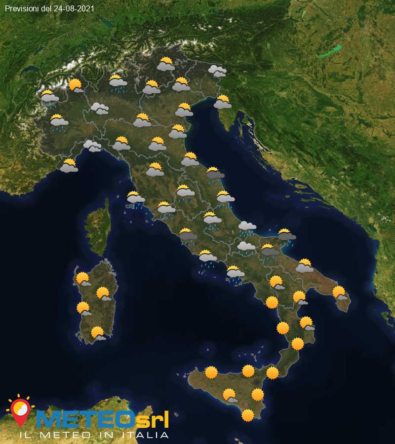 Previsioni Meteo Italia 24/08/2021