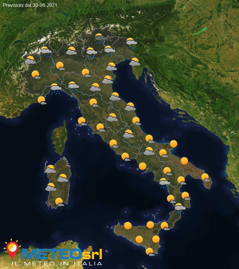 Previsioni Meteo Italia 30/08/2021