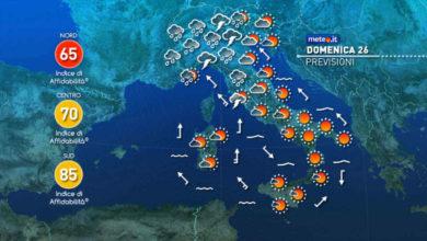 Photo of Meteo: domani estate diffusa al Sud, piogge al nord