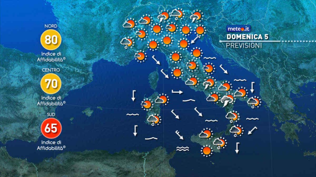 Previsioni meteo per la giornata odierna e per quella di domani