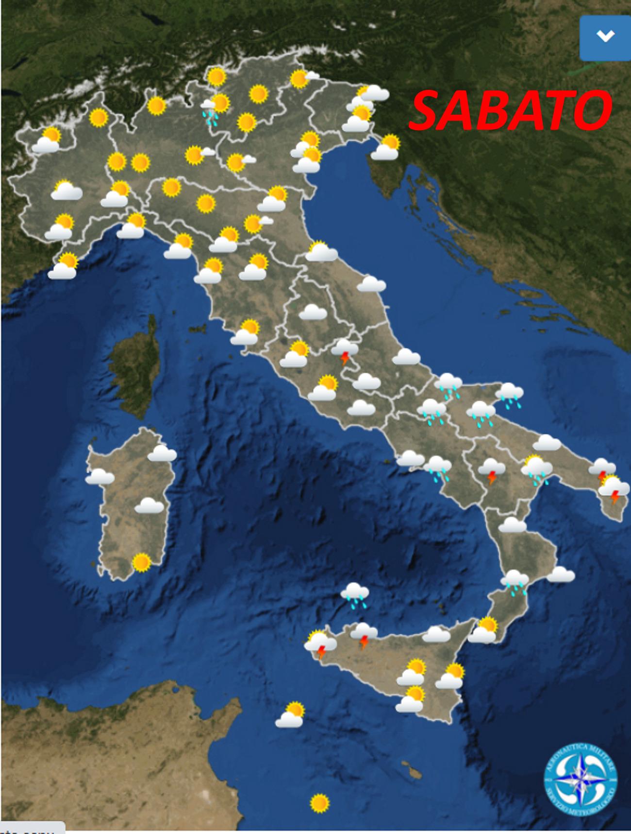 Meteoam, previsioni del tempo prossimi giorni