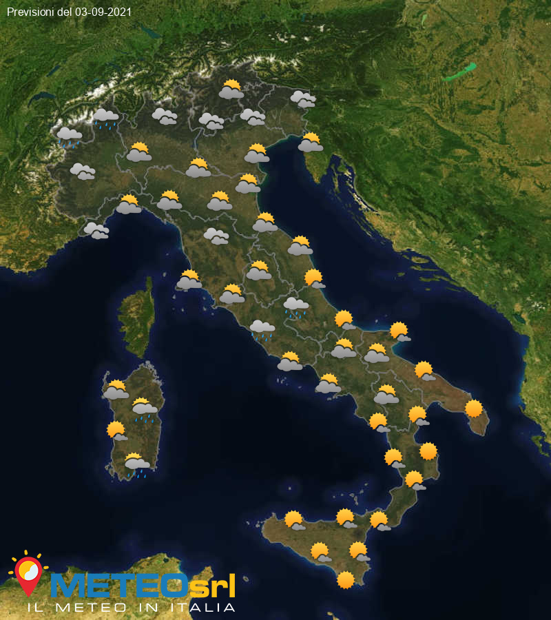 Previsioni Meteo Italia 03/09/2021