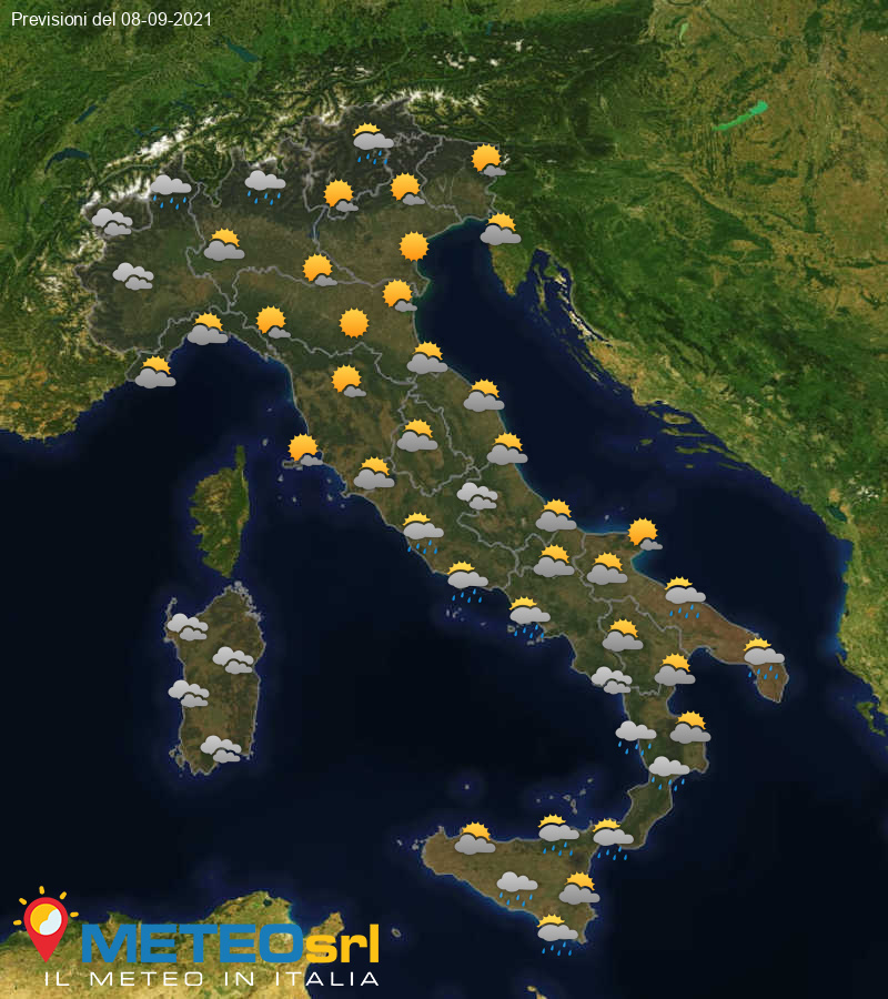 Previsioni Meteo Italia 08/09/2021