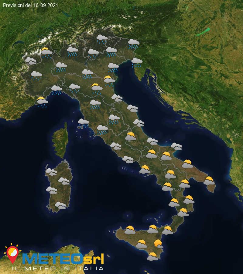 Previsioni Meteo Italia 16/09/2021