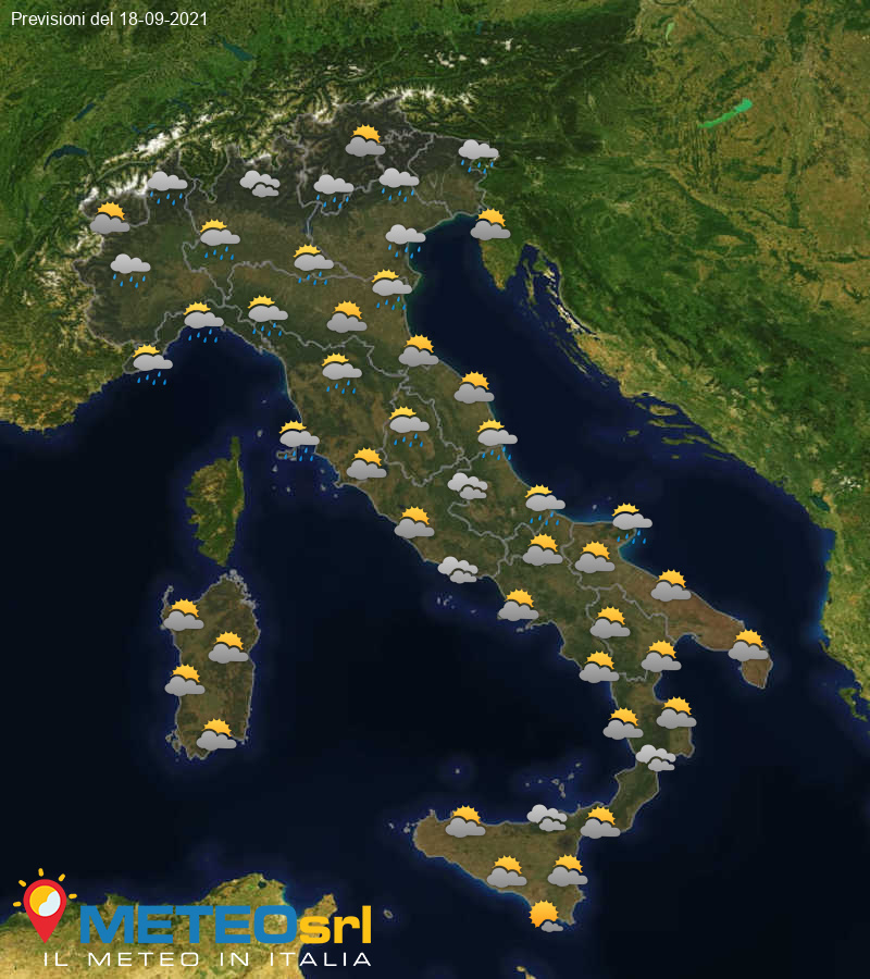 Previsioni Meteo Italia 18/09/2021