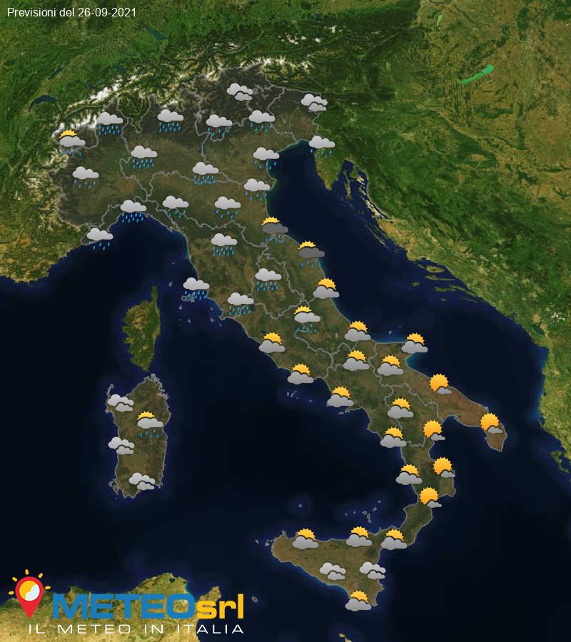 Previsioni Meteo Italia 26/09/2021