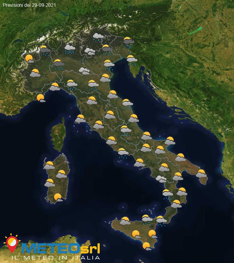 Previsioni Meteo Italia 29/09/2021