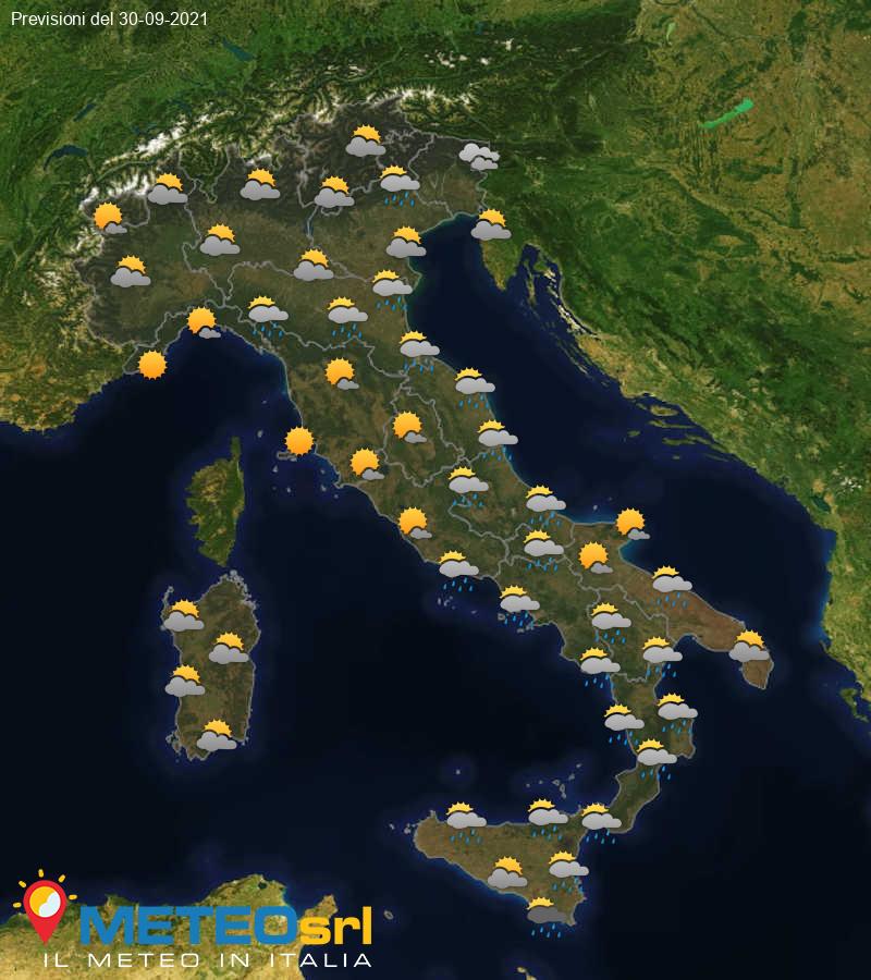 Previsioni Meteo Italia 30/09/2021