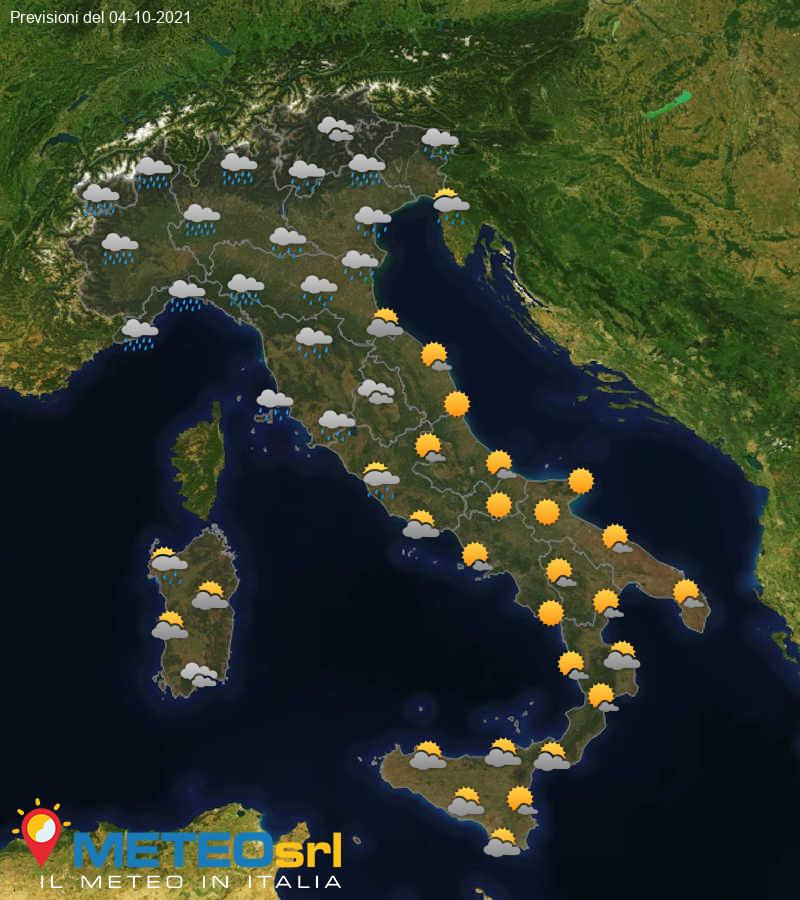 Previsioni Meteo Italia 04/10/2021