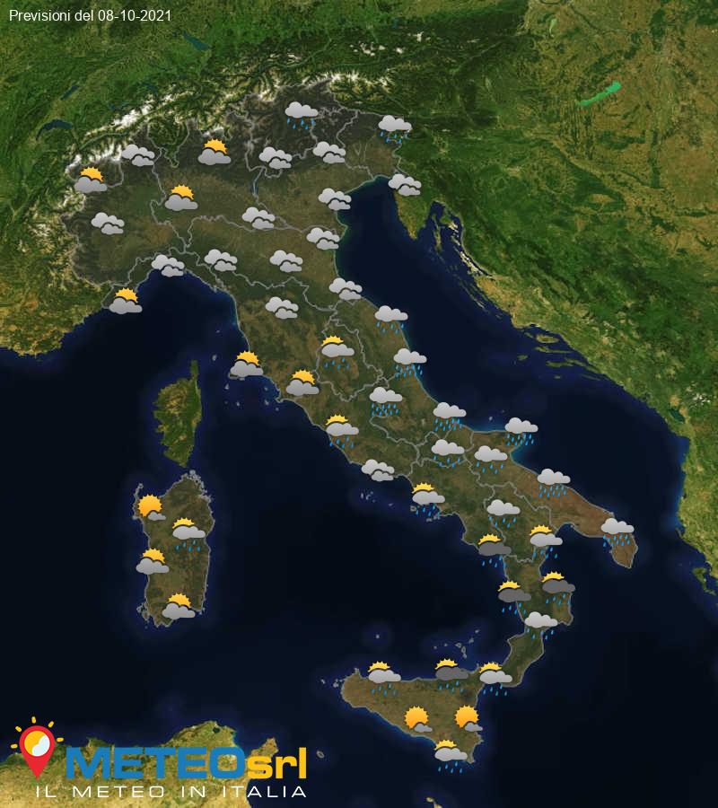 Previsioni Meteo Italia 08/10/2021