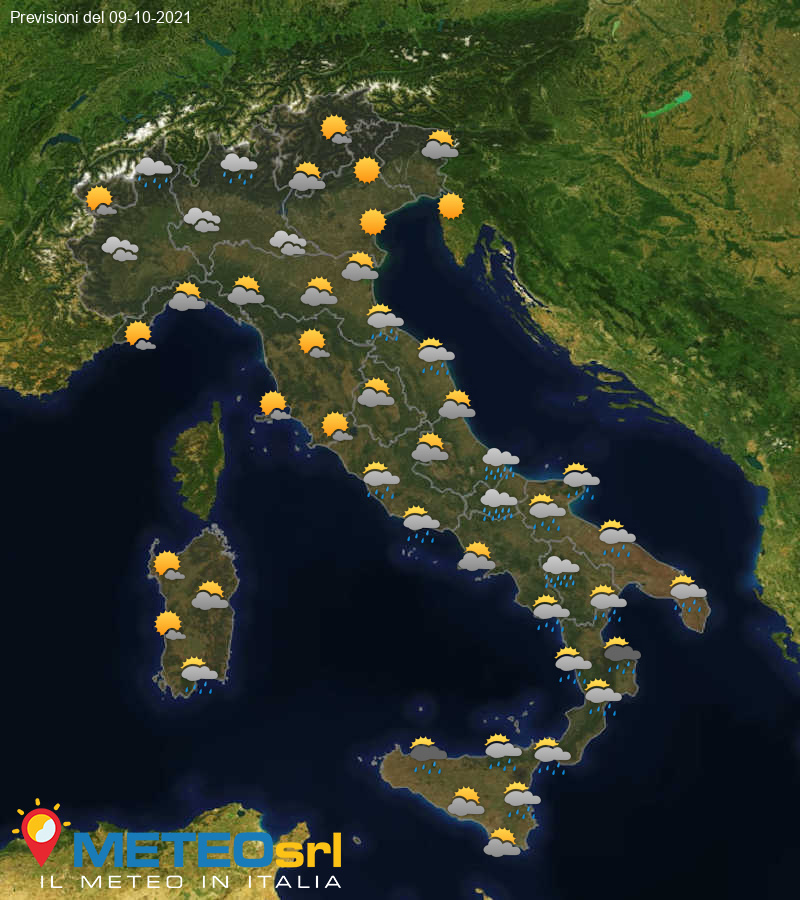 Previsioni Meteo Italia 09/10/2021