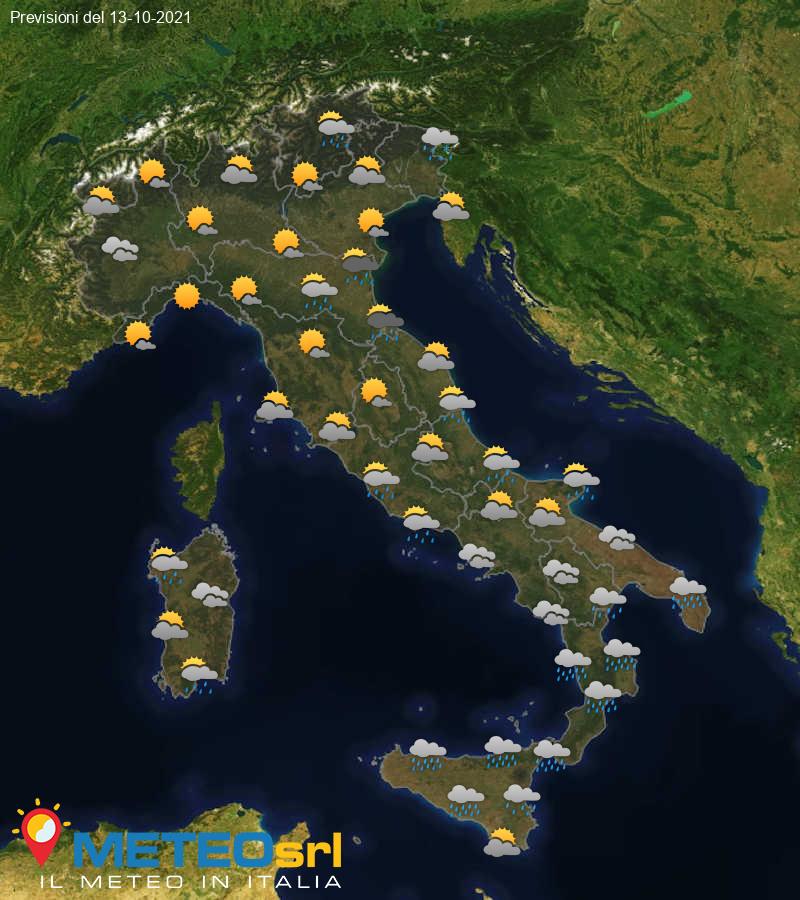 Previsioni Meteo Italia 13/10/2021